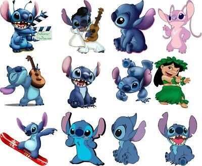 Lilo And Stitch Decorations (Lilo and Stitch Disney style sticker set Decal Movie WALL  12 Piece set)