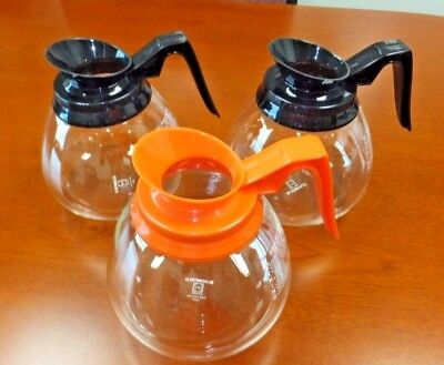 Coffee Pot Decanter Blkorg 64oz Commercial Lot Of 3 Coffee Pots For Bunn Brewer