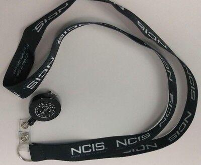 NCIS Black White Lanyard IDs Keys - White Lanyard