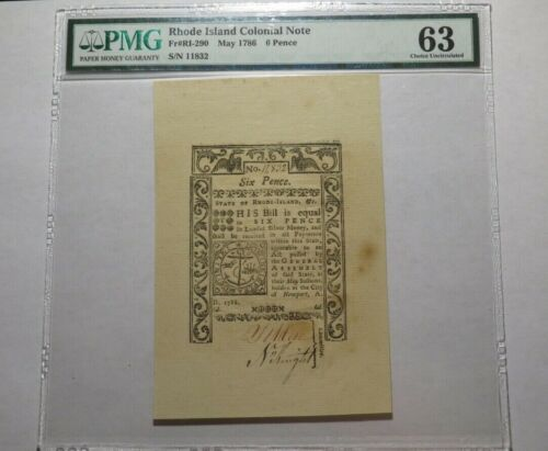 1786 6 Pence LARGE Rhode Island RI Colonial Currency Note Bill Choice UNC63 PMG
