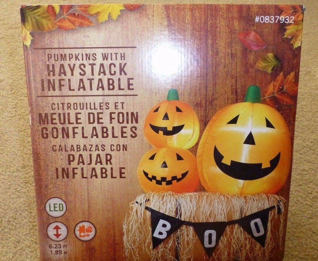 6ft Holiday Living Halloween/fall Hay Bale And Pumpkin W/ Boo Banner Inflatable