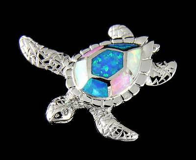 INLAY TRICOLOR OPAL HAWAIIAN SEA TURTLE SLIDE PENDANT 925 STERLING SILVER - Opal Inlay Turtle Pendant