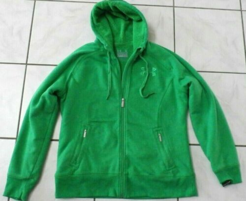 Under Armour Boys Green Hoodie Zip up Jacket XL Youth Fleece Lined Warm