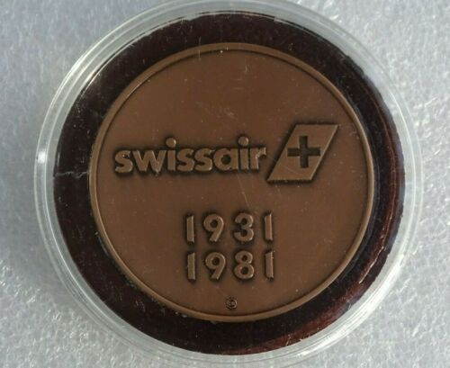 Swissair 50th Anniversary 1931-1981 Bronze Medal Coin With Case