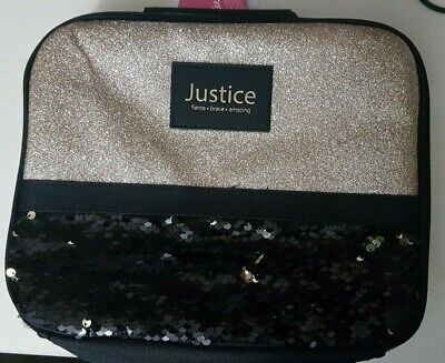 Black And Gold Glitter (**NEW** Justice Gold Glitter And Black Flip Sequin Lunchbox -)