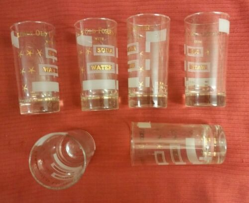 "Old Forester Bourbon Whiskey ""With Soda and Water"" Set of 6 Hi-Ball Glasses Mint"