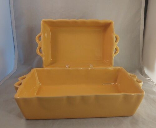 Set of 2 Deltis Portugal Dijon Yellow Rectangular Baking Dishes