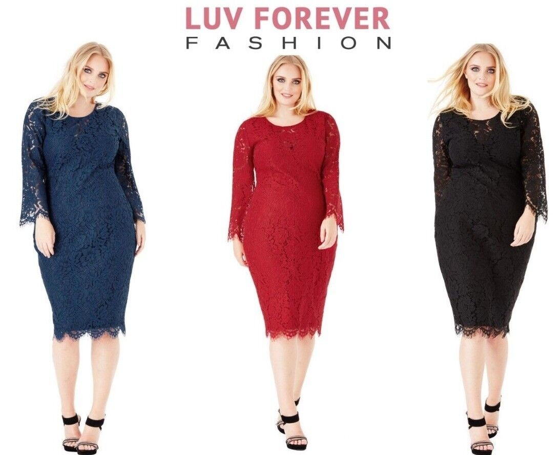 26063de9350 New Goddiva Full Sleeved Lace Midi Cocktail Plus Size Evening Party Dress  16-26