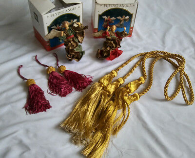 Christmas Tree ornaments Lot of 7 Paper Mache Angels Porcelain headsTassels ()