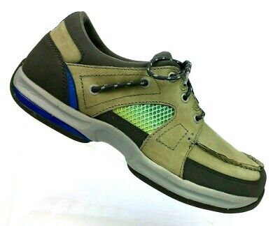 Cabelas Current Seam Taupe Leather & Mesh 3-eye Boat Shoes 82-6843 Men's 9 M, used for sale  Alba