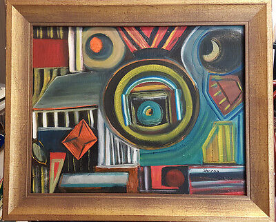 Eastern European Framed Oil on Canvas Abstract Scene Painting Signed, Sharon.