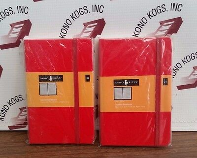 2 Fabio Ricci Small Red Cover Squared Notebooks - 9 X 14 Cm.