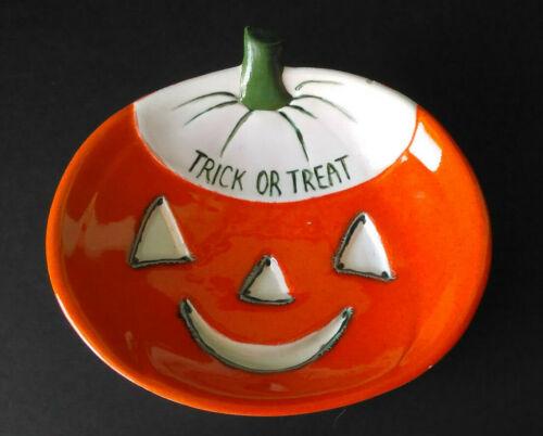 Vintage Halloween Jack O Lantern Pumpkin Trick Treat Ceramic Pottery Dish Bowl
