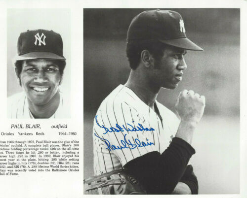 NY Yankees Paul Blair  autographed 8x10   photo