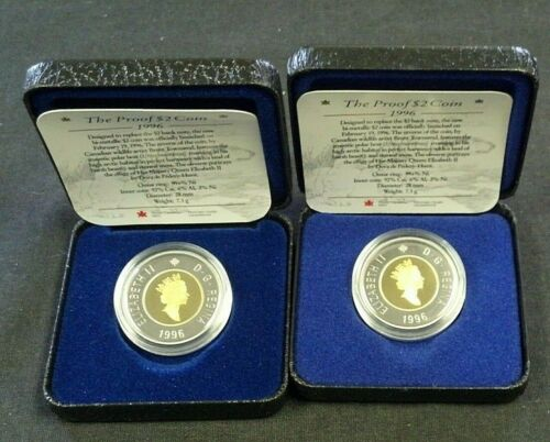 (2) 1996 CANADA $2 PROOF POLAR BEAR BI-METALLIC WITH OGP    (7866)