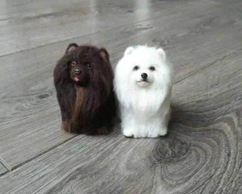 Chocolate Pomeranian Spitz Felted Dog Handmade Wool 100 % Custom order