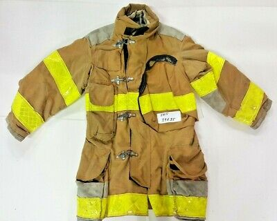 Lion 34x35 Brown Firefighter Bunker Turnout Jacket Coat With Yellow Tape J825