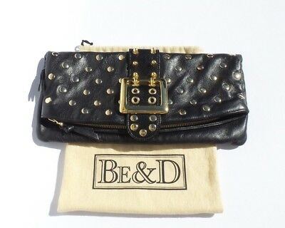 BE&D Black Lambskin Leather Gold Buckle Studded Fold Over Snap Flap Clutch $485 ()