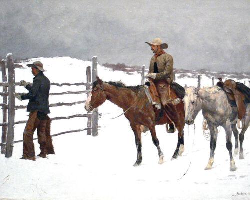 Remington Painting Cowboy & Horses Winter Landscape Real Canvas Art Print New