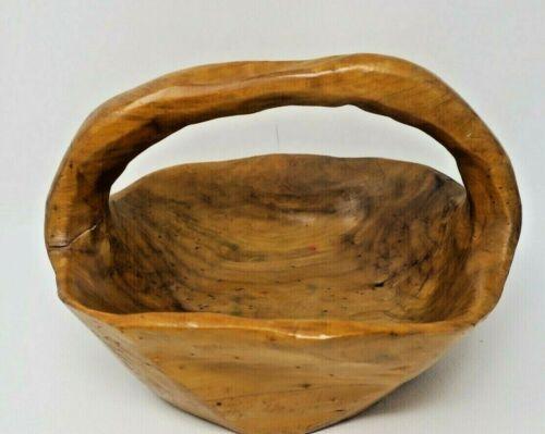Vintage Hand Carved Monkey Pod Basket with Handle