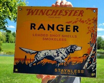 VINTAGE DATED 1953 WINCHESTER RANGER PORCELAIN ENAMEL GUN SIGN REMINGTON COLT