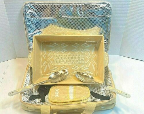 Temptations By Tara Carved Old World Large Casserole Carry Case & Utensils