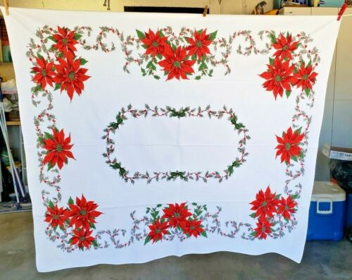 """VTG WHITE CHRISTMAS TABLECLOTH RED POINSETTAS & HOLLY BERRIES - 50"""" x 58"""""""