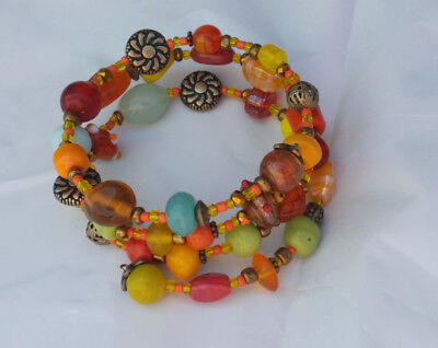 Handcrafted Glass Bead Memory Coil Wrap Bracelet BoHo Gypsy Carnival Colors  (Handcrafted Glass Bead Bracelets)