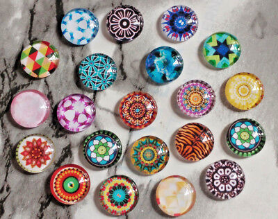 10PC. Mosaic Printed 12MM Glass Cabochons Dome Flatback Half Round DIY NEW 12MM