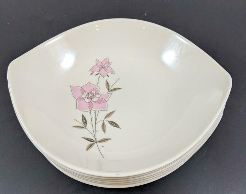 6 Vintage TAYLORTON ROSE SACHET Soup/Cereal Bowls Taylor Smith Pink Gray 1950