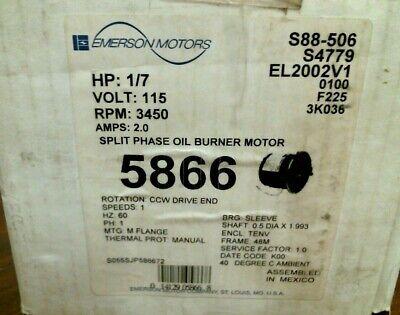 Emerson 5866 Oil Burner Motor 17 Hp 115v 60hz 3450rpm 2.0a Split Phase New