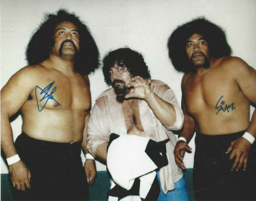 WWF stars The WIld Samoans  autographed 8x10 photo Duel Signed with Captain Lou