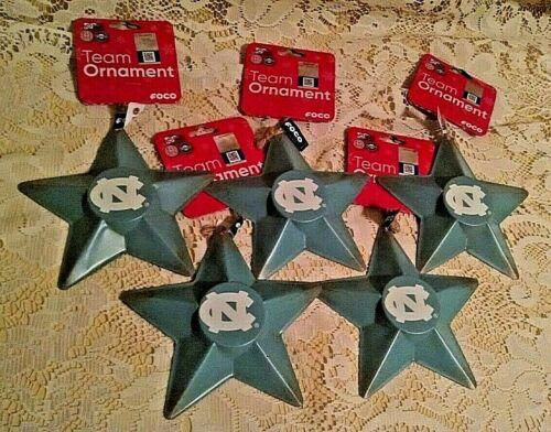 UNIVERSITY NORTH CAROLINA ORNAMENT SET 5 NEW METAL STAR CHRISTMAS FOCO NWT UNC.