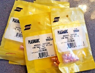 Lot25 New Esab Plasmarc Cutting Nozzles 150a For Pt-121 Part 999264 23120606