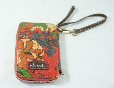 Sakroots Zip Wristlet Smart Phone Case Wallet Orange Green Gray Floral Print for sale  Rochester