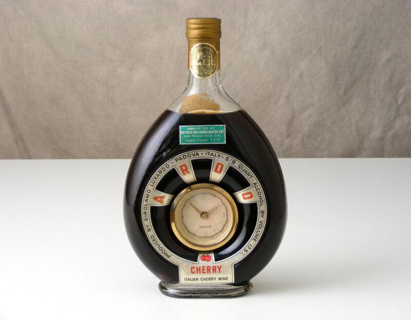Vtg Rare Girolamo Luxardo Italian ARDO Glass BOTTLE Decanter w/ Mercedes CLOCK
