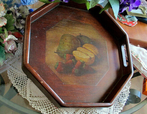 """VINTAGE WOODEN SERVING TRAY Hand Painted """"FRUIT"""" Slot Handles LARGE 13"""" Octagon"""