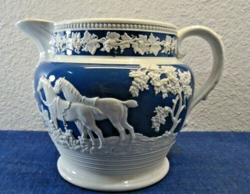 Vtg Blue White Ceramic Hunters Dogs (Eating Deer?) Wedgwood Style Water Pitcher