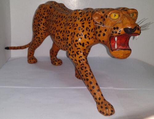 "Vintage Handmade Leather Leopard Figurine Statue Sculpture 16"" Long x 7.25"" Tall"