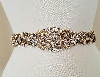 """Wedding Belt, Bridal Sash Belt - GOLD Crystal Pearl Sash Belt = 19"""" long"""