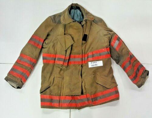 Globe 38x32 Brown Firefighter Turnout Jacket Coat w/ Orange Reflective Tape J833