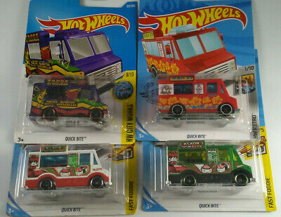 HOT WHEELS quick bite food trucks and treasure hunt LOT of 4
