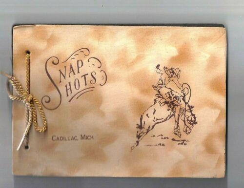 Vintage Unused COWBOY / Rodeo themed Photo Snap Shots Album, CADILLAC, MICHIGAN