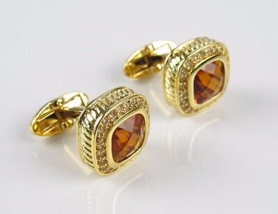 Royal Gold Crystal Mens Wedding Party gift shirt cufflinks cuff links