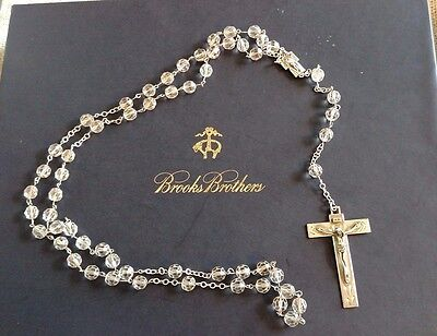 """Sterling Silver Rosary Signed Chris 25.5"""" Crystal Faceted ROME Heirloom Quality"""