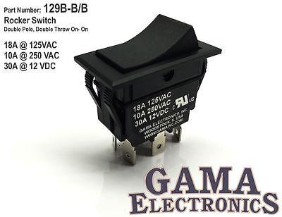 30 Amp Double Pole Double Throw On-On Rocker Switch - 129B-B/B
