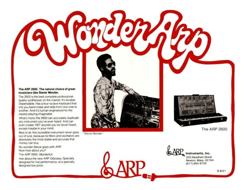 Stevie Wonder *LARGE POSTER* Arp 2600 Synth Promo ad Synthesizer moog 70