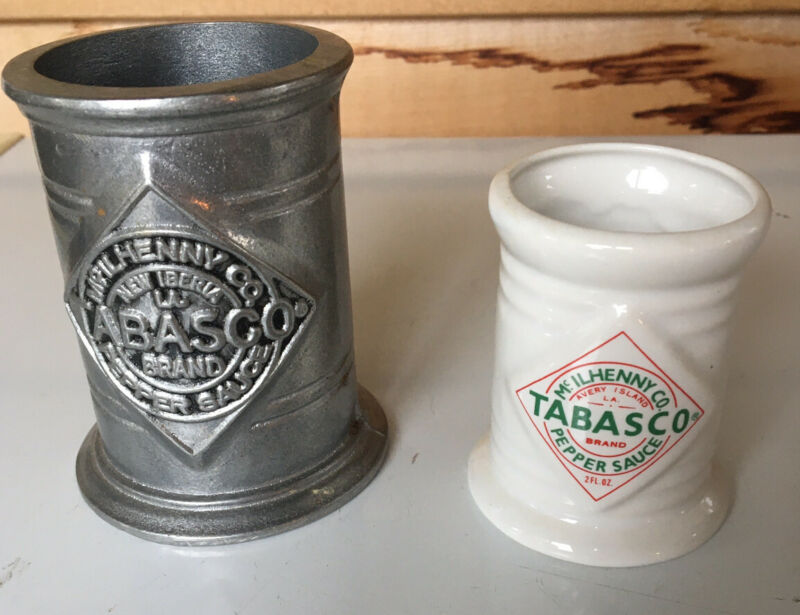 "2 Tabasco Hot Sauce Bottle Holders: Wilton Pewter Metal 3.5"" & Ceramic Holder"