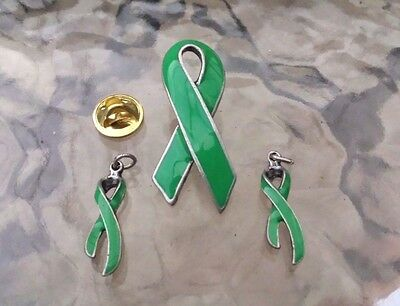 SUPPORT LOVE ONES 1 Set DARK GREEN RIBBON 1 PIN 2 CHARM / PENDANT SET  AWARENESS