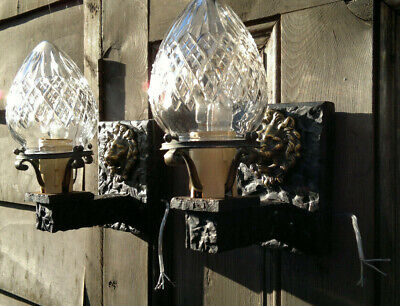 Pair Arts & Crafts Gothic Wall Sconces Hall~Porch Lights~Cut Crystal Glass c1910 Hall Crystal Sconce